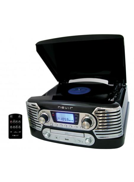 Tocadiscos Nevir 801VMUC Radio USB Grabador Negro Conversor