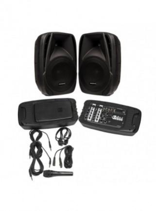Sistema de altavoces con mesa de mezclas INFINITON DJ-M300 2x 100W, incluye 2 trípodes