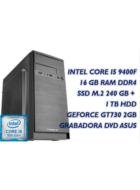 ORDENADOR SOBREMESA INTEL CORE I5-9400F 2.9GHz - PB 1151 DDR4 8GB 1TB USB 3.0 REGR. DVD ASUS SSD 240 GB W10 LECTOR USB TECLADO R