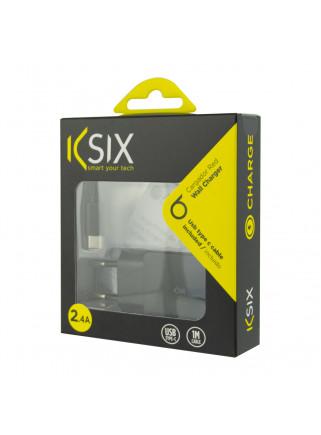 CARGADOR KSIX RED 2.4A USB TIPO C D 1 METRO NEGRO